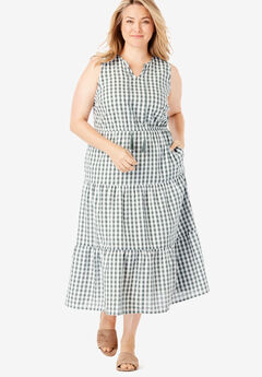 Sleeveless Tiered Seersucker Tassel-Tie Dress,