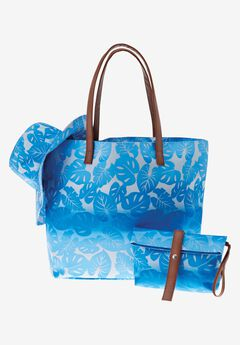 Tropical 3-piece beach tote set,