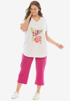 Travel Themed Knit Capri Pants Set,