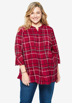 Pintucked Ruffle Sleeve Blouse, CLASSIC RED DOTTED PLAID