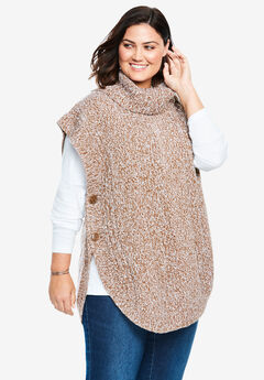 Marled Knit Cowl Neck Poncho, SOFT BROWN WHITE