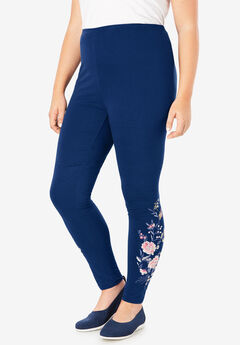 Stretch Cotton Embroidered Legging,