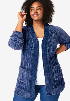 Open Front Chenille Cardigan, EVENING BLUE