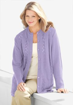 Long-Sleeve Pointelle Cardigan,