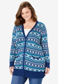 The Boyfriend Cardigan, EVENING BLUE FAIR ISLE