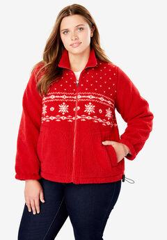 Snowflake Print Berber Fleece Jacket,