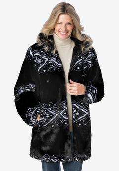 Faux Fur Snowflake Print Hooded Jacket, BLACK FAIR ISLE