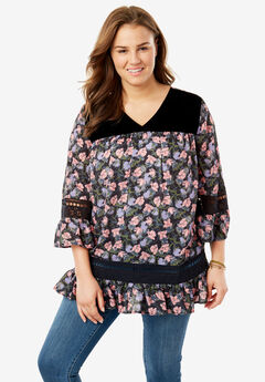 Velvet and Crochet Accented Printed Blouse, BLACK TULIP PRINT