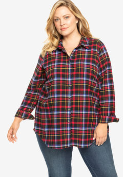 Classic Flannel Shirt, BLACK CLASSIC RED PLAID