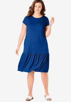 Flounced Hem T-Shirt Midi Dress,