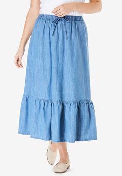 Drawstring Chambray Skirt, LIGHT WASH