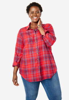 Classic Flannel Shirt, RED PLAID