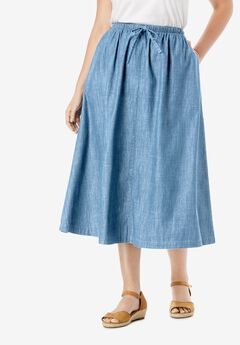 Flared denim skirt,