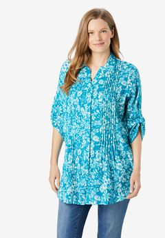 Pintucked Button Down Gauze Shirt,