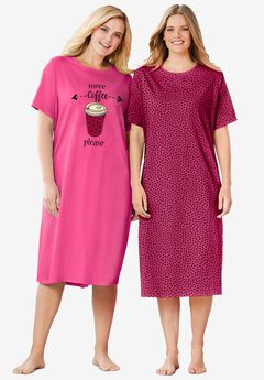 2-Pack Long Sleepshirts by Dreams & Co.®, POMEGRANATE COFFEE