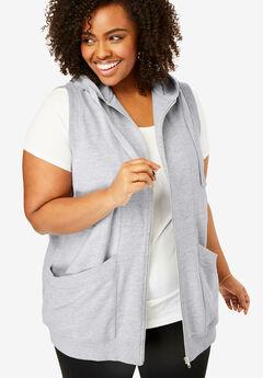 Zip-Front Hooded Tunic Vest,