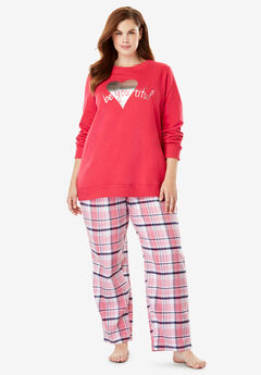 Fleece Sweatshirt & Pant Pajama Set by Dreams & Co.®, PINK BURST BEAUTIFUL