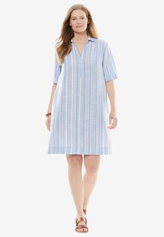 Collared Linen Shirtdress,
