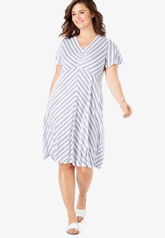 Cinched V-Neck Tee Dress,