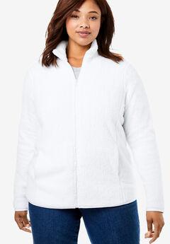 Fluffy Fleece Jacket, WHITE