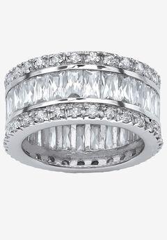 Platinum-Plated Eternity Bridal Ring Cubic Zirconia (9 1/3 cttw TDW),