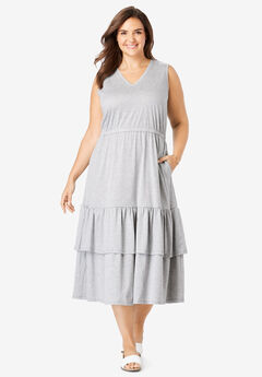 Tiered Hem Sleeveless Dress, HEATHER GREY