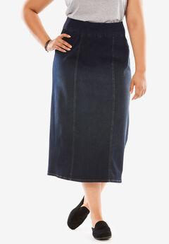 Smooth Waist A-Line Denim Skirt, INDIGO SANDED