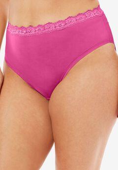 Lace-Trim High-Cut Microfiber Brief by Comfort Choice®,