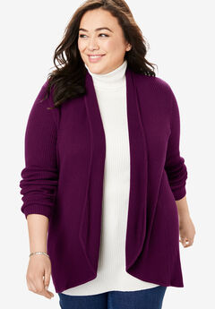 Rib Knit Open Front Cardigan Sweater, DARK BERRY