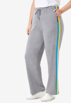 Sport Knit Side-Stripe Pant, MEDIUM HEATHER GREY VIBRANT BLUE BRIGHT