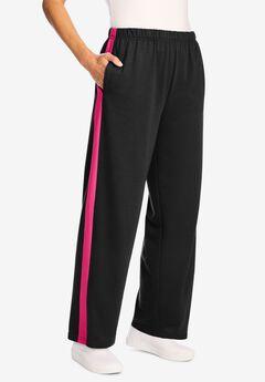 Side Stripe Cotton French Terry Straight-Leg Pant, BLACK RASPBERRY SORBET