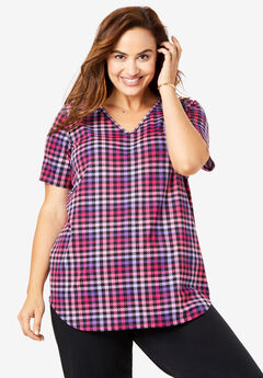 EveryWear Essentials™ V-Neck Tee, PINK PLAID