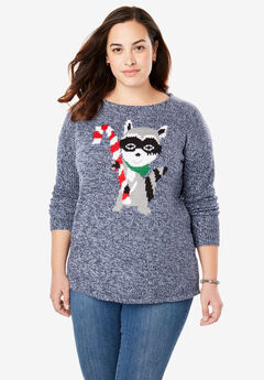 Holiday Pullover Sweater, BLUE MARLED RACCOON