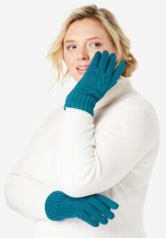 Cable Knit Gloves, DEEP TEAL
