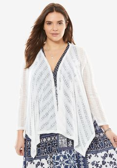Cascading Pointelle Cardigan by Chelsea Studio®,