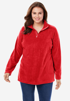 Quarter-Zip Microfleece Pullover, ELECTRIC RED