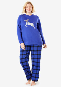 Fleece Sweatshirt & Pant Pajama Set by Dreams & Co.®, BLUE SAPPHIRE REINDEER