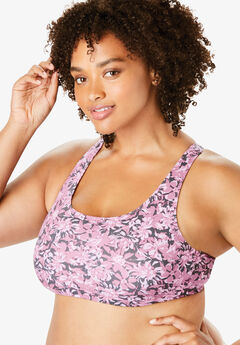 Leading Lady® Serena Low-Impact Wireless Active Bra #0514, PINK FLORAL CAMO