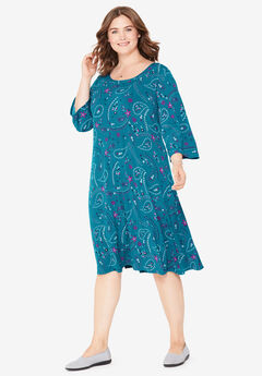 A-Line Three-Quarter Sleeve Knit Dress, DEEP TEAL FLORAL PAISLEY