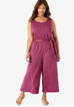 Cropped Wide Leg Rib Knit Jumpsuit,