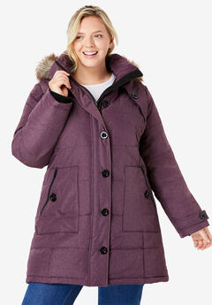 Heathered Down Puffer Coat,