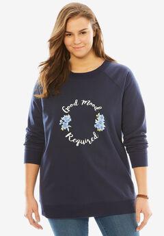 Wide Scoop Neck Graphic Sweatshirt, NAVY GOOD MOOD REQUIRED