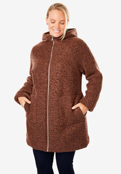 Textured Bouclé Hooded Coat,