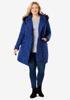 Faux Fur Trimmed Puffer Coat, EVENING BLUE