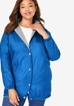 Fleece Nylon Reversible Rain Jacket, DEEP COBALT MEDIUM HEATHER GREY