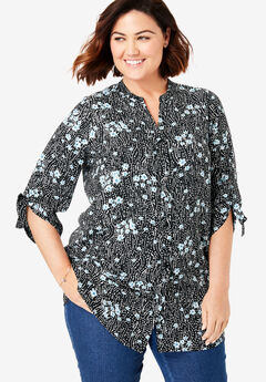Tie-Sleeve Button Down Tunic, BLACK FLORAL WAVE