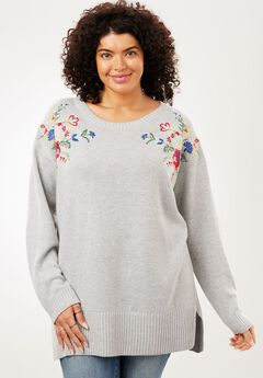 Floral Embroidered Pullover Sweater,