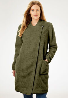 Rib Knit Collar Berber Jacket, DARK BASIL