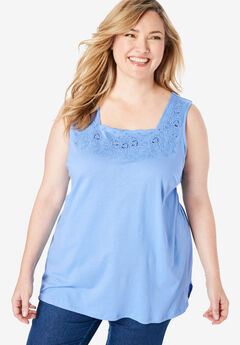 Floral Embroidered Eyelet Tank,