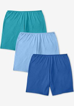 3-Pack Stretch Cotton Boxer Boyshort By Comfort Choice®, VIBRANT BLUE PACK